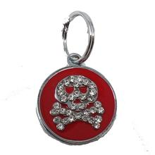 Enamel Circle Skull D-Ring Pet Collar Charm by foufou Dog - Red