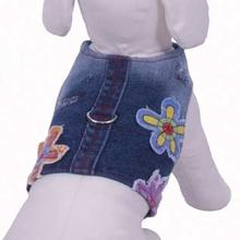 Euphoria Flower Denim Harness Vest w/ Leash by Cha-Cha Couture - Blue