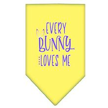 Every Bunny Loves Me Screen Print Dog Bandana - Yellow