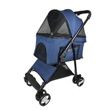 Executive Pet Stroller with Removable Cradle by Dogline - Blue