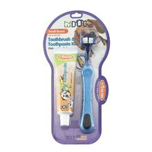 EZ Dog 3-Sided Toothbrush & Natural Toothpaste Kit for Small Dog Breeds - Vanilla Flavor