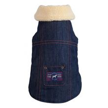 fabdog® Denim Shearling Dog Jacket - Navy