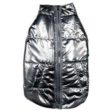 fabdog® Metallic Puffer Dog Coat - Silver