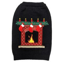 fabdog® Ugly Christmas Dog Sweater - Fireplace Black