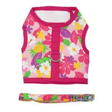 Fabric Dog Harness with Leash by Doggie Design - Pink Hawaiian Floral