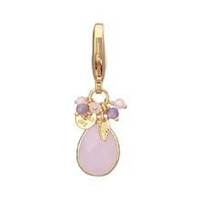 Faceted Stone Dog Collar Charm - Pink Quartz