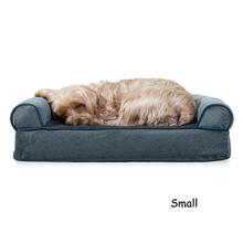 FurHaven Faux Fleece & Chenille Soft Woven Orthopedic Sofa Pet Bed - Orion Blue