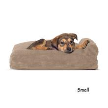 FurHaven Faux Fleece & Corduroy Chaise Lounge Pillow Sofa-Style Dog Bed - Sandstone