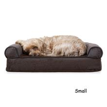 FurHaven Faux Fleece & Chenille Soft Woven Orthopedic Sofa Pet Bed - Coffee