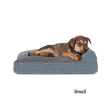 FurHaven Quilted Fleece & Print Suede Lounge Pillow Sofa-Style Dog Bed - Titanium