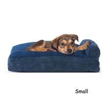 FurHaven Faux Fleece & Corduroy Chaise Lounge Pillow Sofa-Style Pet Bed - Navy Blue