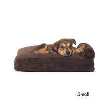 FurHaven Faux Fleece & Corduroy Chaise Lounge Pillow Sofa-Style Dog Bed - Dark Espresso