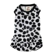 Faux Fur Dalmatian Dog Dress - White