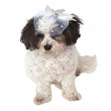 Feather Gem Fancy Dog Hat - White