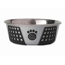 Fiji Stainless Steel Dog Bowl - Gray/Black