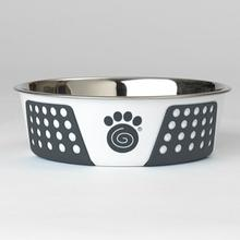 Fiji Stainless Steel Dog Bowl - White/Navy