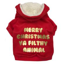 Filthy Animal Christmas Dog Hoodie by fabdog® - Red