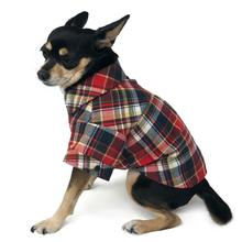 Flannel Button Down Dog Shirt by Dogo - Red