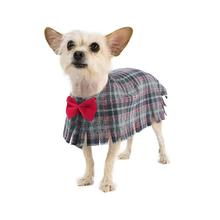 Fleece Dog Poncho by Poocho - Grey Plaid with Bow