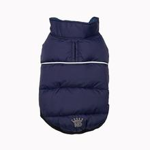Flex-Fit Reversible Puffer Dog Vest by Hip Doggie - Navy/Plaid