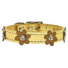 Flower Gold Leather Dog Collar - Bronze Flowers