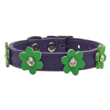 Flower Purple Leather Dog Collar - Lime Green Flowers