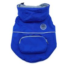 foufou Dog Rainy Day Dog Poncho with Built-in Travel Pouch - Blue