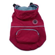 foufou Dog Rainy Day Dog Poncho with Built-in Travel Pouch - Burgundy