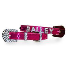 Foxy Metallic Dog Collar With Letter Strap by Cha-Cha Couture - Hot Pink
