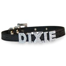 Foxy Glitz Slide Dog Collar by Cha-Cha Couture - Black
