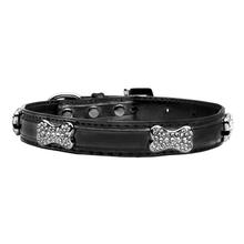Foxy Metallic Dog Collar with Crystal Bones by Cha-Cha Couture - Black
