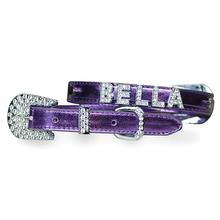 Foxy Metallic Dog Collar with Letter Strap by Cha-Cha Couture - Lilac