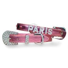 Foxy Metallic Dog Collar with Letter Strap by Cha-Cha Couture - Pink