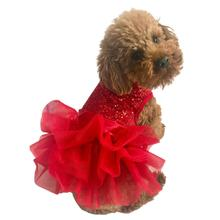 Fufu Tutu Picture Perfect Sequin Dog Dress - Red