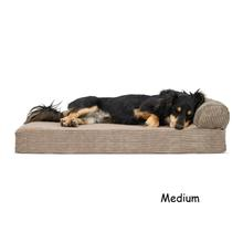 FurHaven Faux Fleece & Corduroy Chaise Lounge Orthopedic Sofa Pet Bed - Sandstone