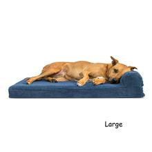 FurHaven Faux Fleece & Corduroy Chaise Lounge Orthopedic Sofa Pet Bed - Navy Blue