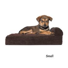 FurHaven Faux Fleece & Corduroy Chaise Lounge Orthopedic Sofa Pet Bed - Dark Espresso