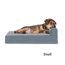 FurHaven Fleece & Print Suede Chaise Lounge Orthopedic Sofa Dog Bed - Titanium