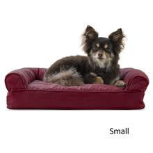 FurHaven Quilted Memory Top Sofa Pet Bed - Wine Red