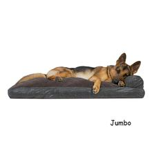 FurHaven Quilted Fleece & Print Suede Lounge Pillow Sofa-Style Dog Bed - Espresso