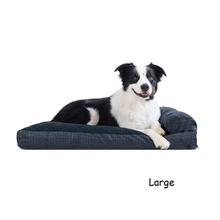 FurHaven Quilted Fleece & Print Suede Lounge Pillow Sofa-Style Dog Bed - Dark Blue