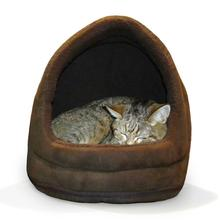 FurHaven Snuggle Terry & Suede Hood Pet Bed - Espresso