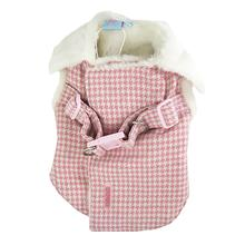 Furry Houndstooth Dog Harness Coat by Dogo - Pink