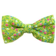 Green Flowers Dog Bow Tie from Daisy and Lucy