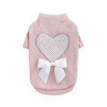 Pearl Heart Dog Sweater by Hello Doggie - Dusty Rose Pink