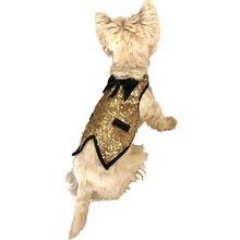 Gentlemen's Sequin Dog Tuxedo Vest - Light Gold