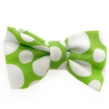 Green and White Circles Dog Bow Tie from Daisy and Lucy