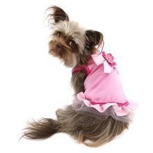 Gingham Ribbon Dog Dress - Light Pink