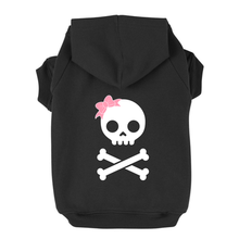 Girl Skull and Bones Dog Hoodie - Black