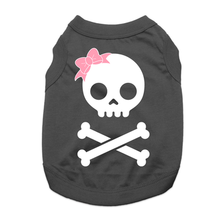 Girl Skull and Bones Dog Shirt - Black